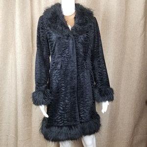 Giacca textured coat faux fur trim 70s style  Sz S